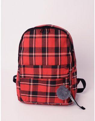 Рюкзак у клітинку з хутряним брелоком на кишені   238481-15-XX