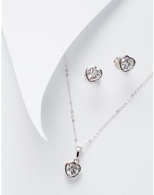 Комплект із підвіски та сережок з кулонами у вигляді сердець | 228471-06-XX