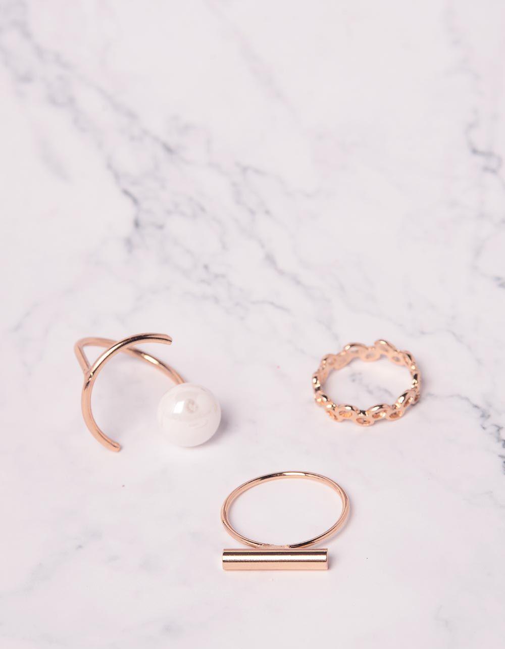 Кільця у наборі з перлиною | 239823-08-XX