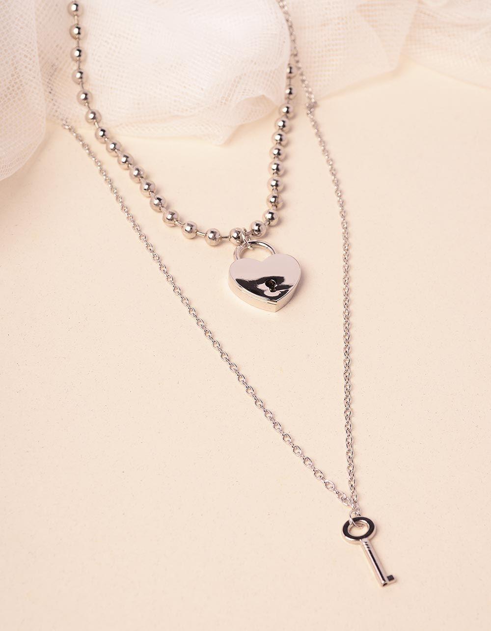 Підвіска подвійна з кулонами у вигляді ключа та серця | 240116-05-XX