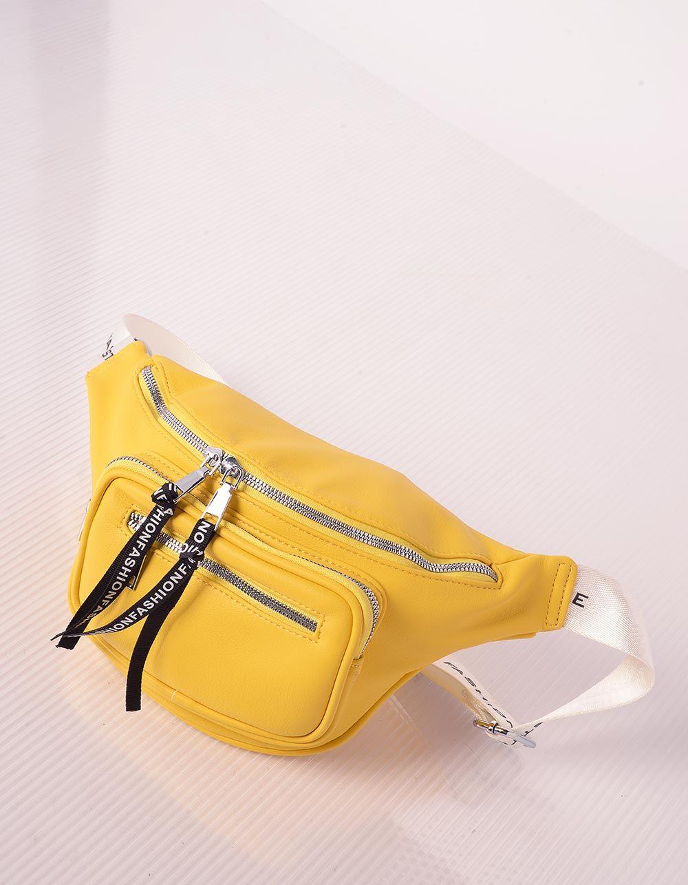 Сумка бананка з кишенею та написом на стрічках | 238964-19-XX
