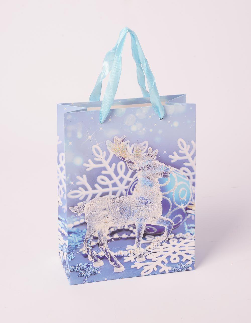 Пакет подарунковий з новорічним принтом | 240047-18-XX