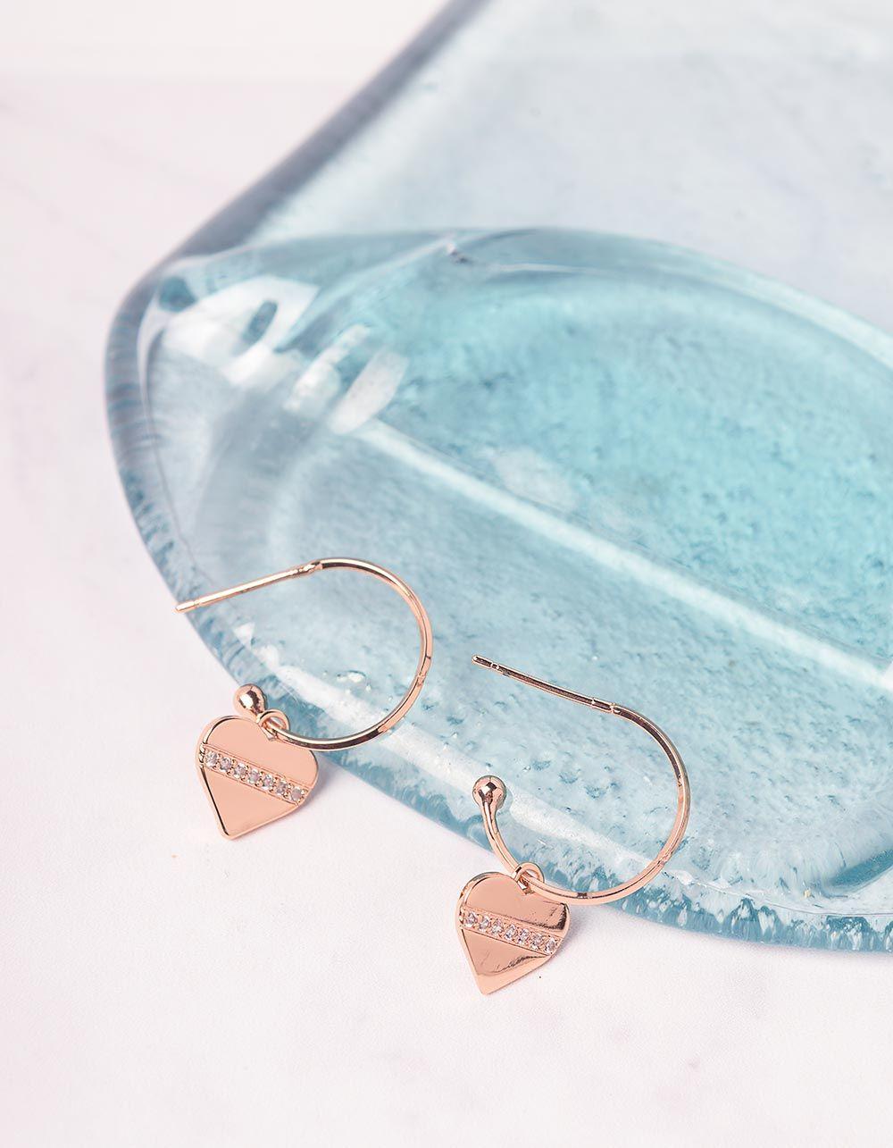 Сережки з кулонами у вигляді сердець | 240985-08-XX