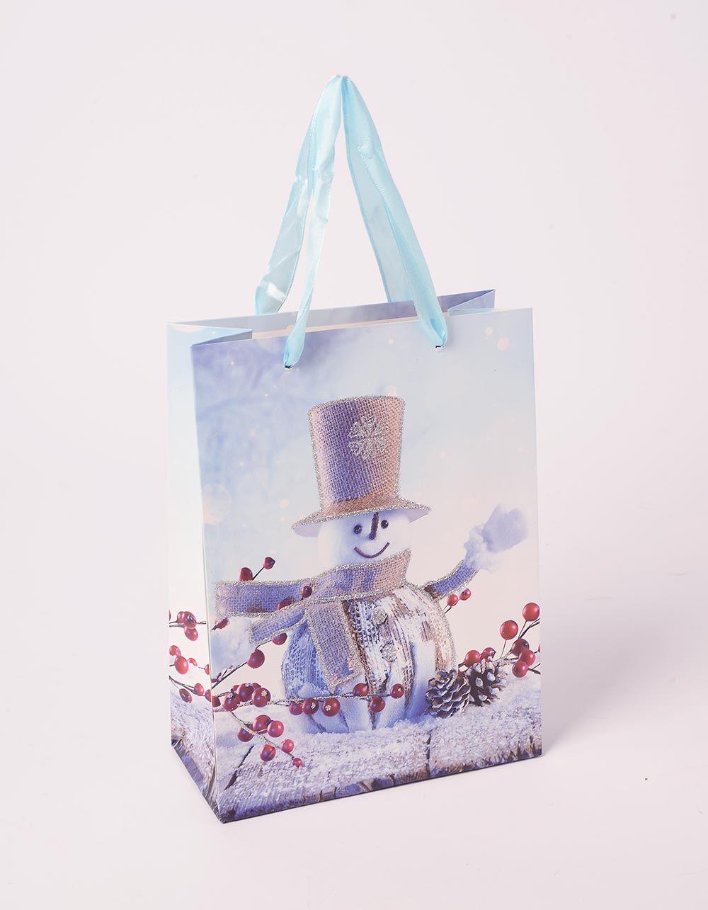 Пакет подарунковий з новорічним принтом | 240047-03-XX