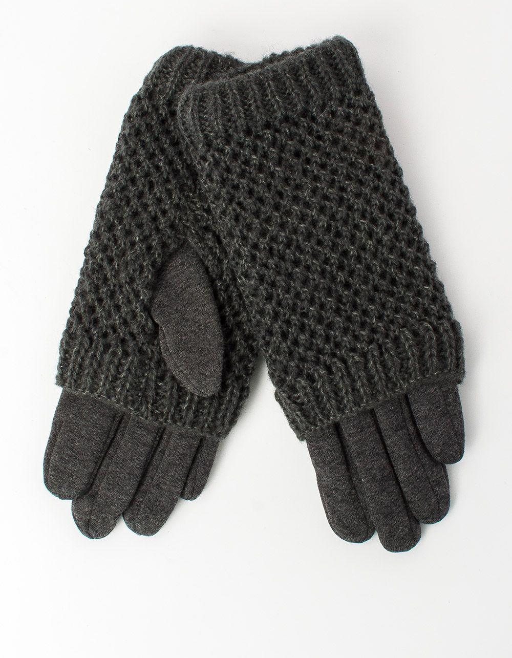 Перчатки крупная вязка с плюшевой подкладкой   213135-11-07