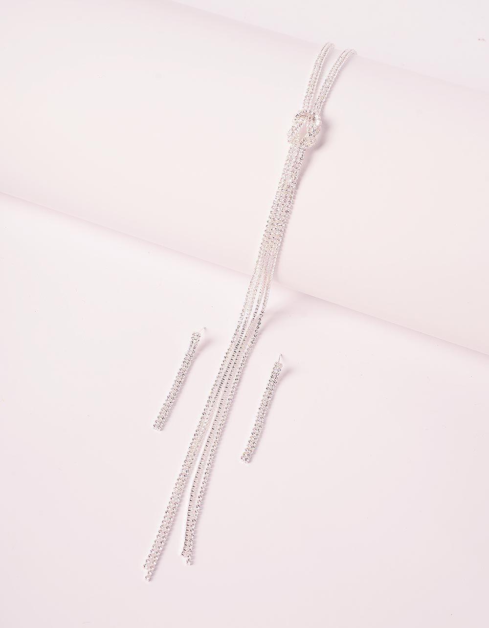 Комплект із підвіски та сережок з камінцями | 240191-06-XX