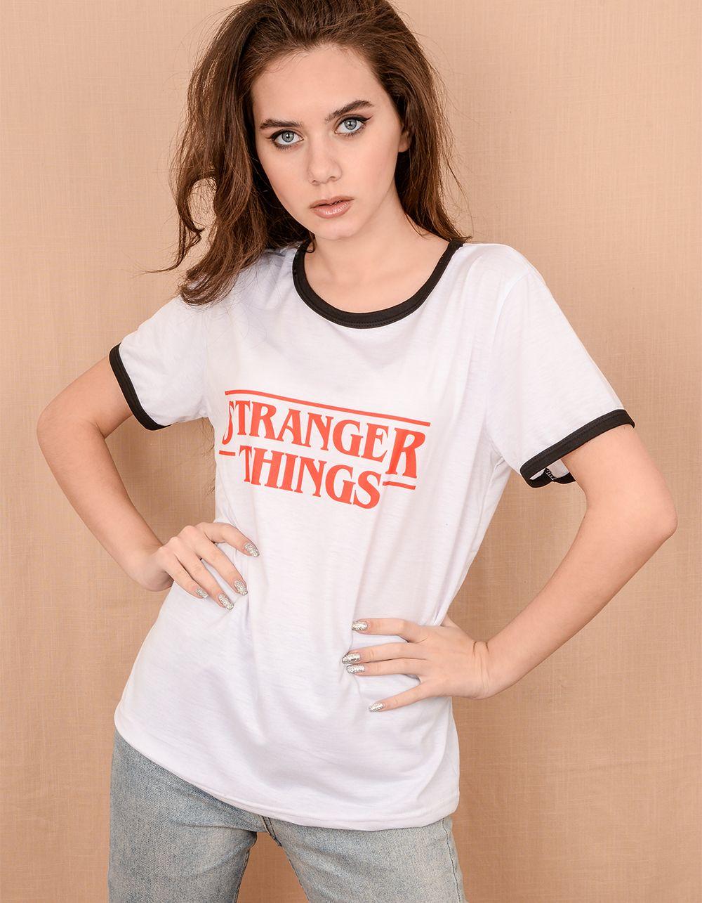Футболка із написом Stranger things | 239955-01-21