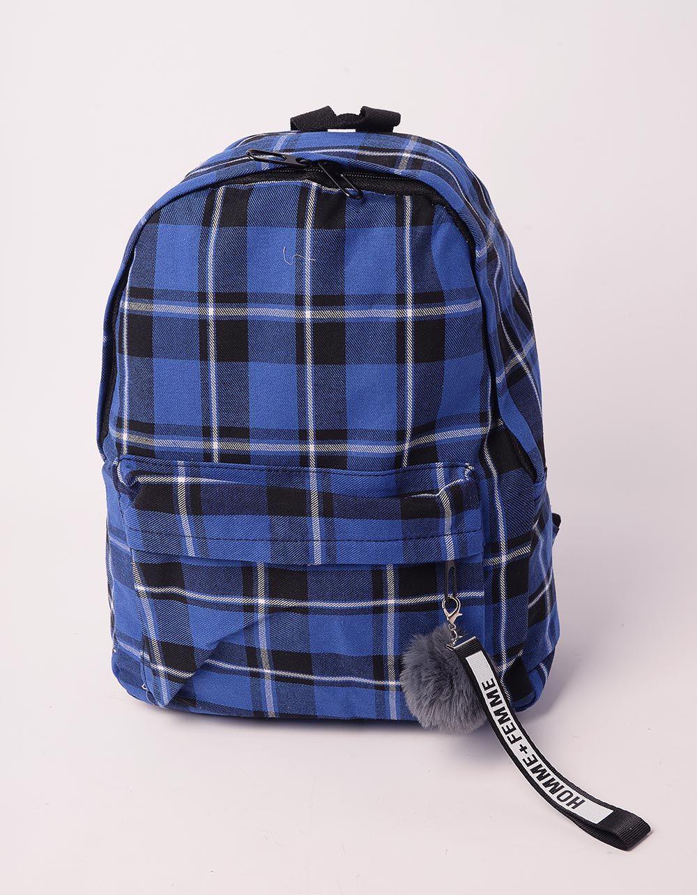 Рюкзак у клітинку з хутряним брелоком на кишені | 238481-13-XX
