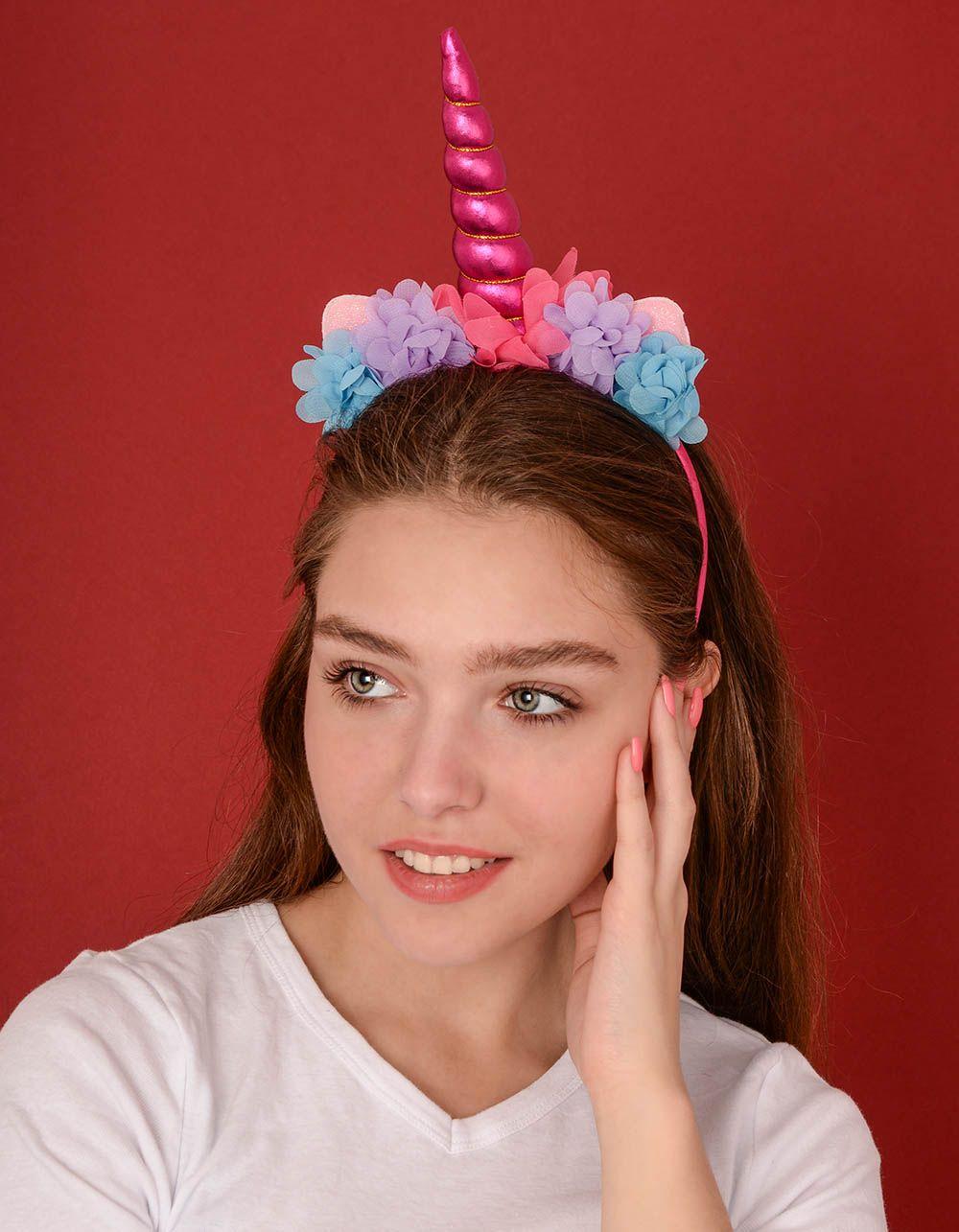 Обідок для волосся у вигляді єдинорога з квітами | 238771-18-XX