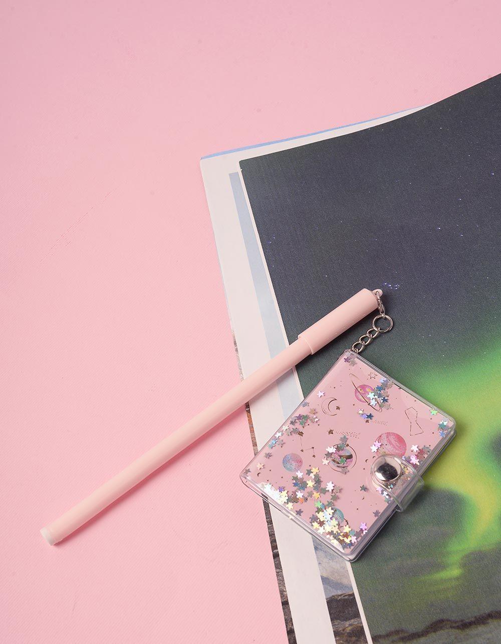 Ручка з блокнотом на ковпачку із космічним принтом | 239083-14-XX