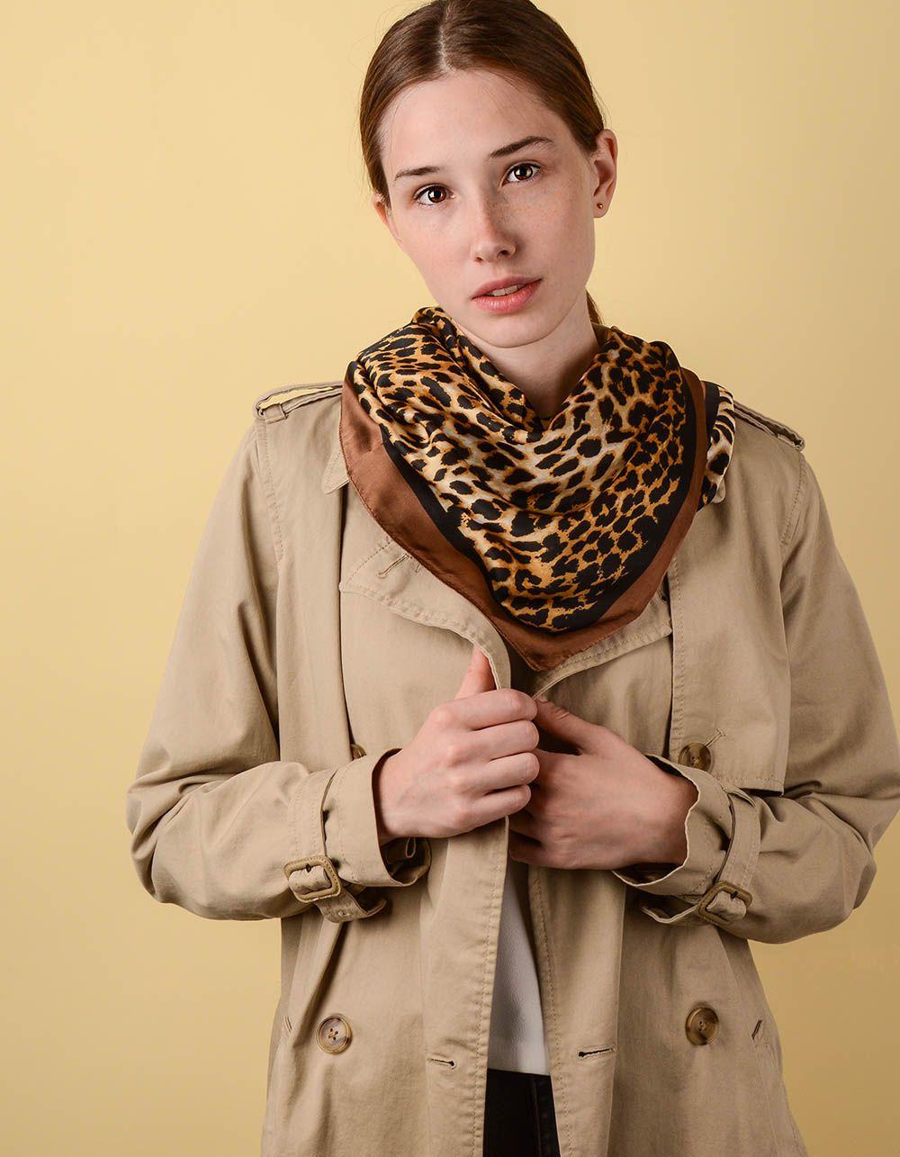 Косинка на шию з леопардовим принтом   238624-34-XX