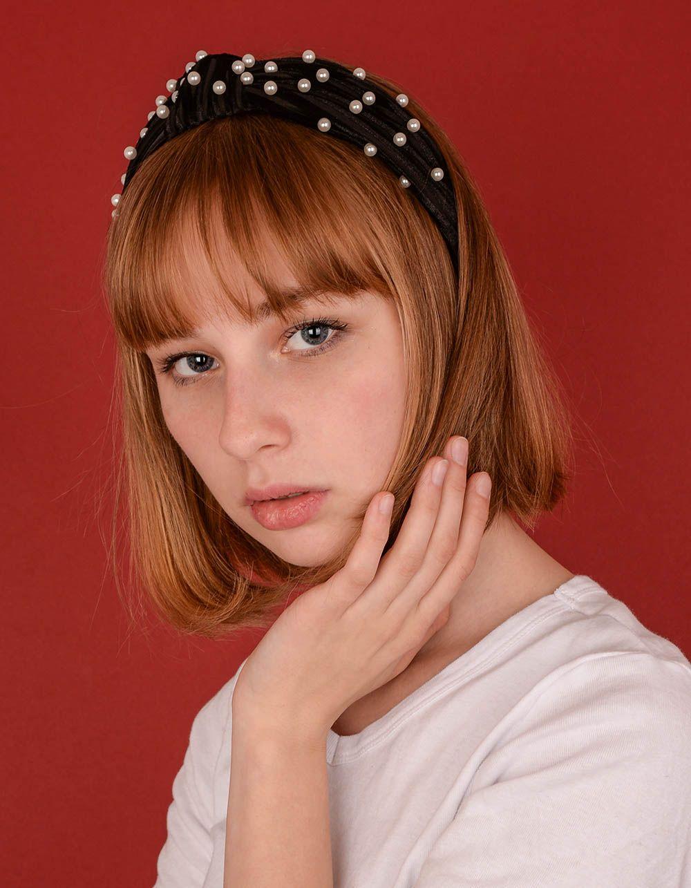 Обідок для волосся широкий з перлинами | 238670-02-XX