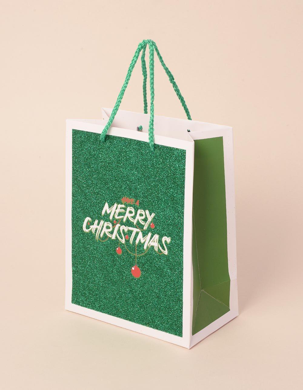 Пакет подарунковий новорічний з написом | 240045-20-XX