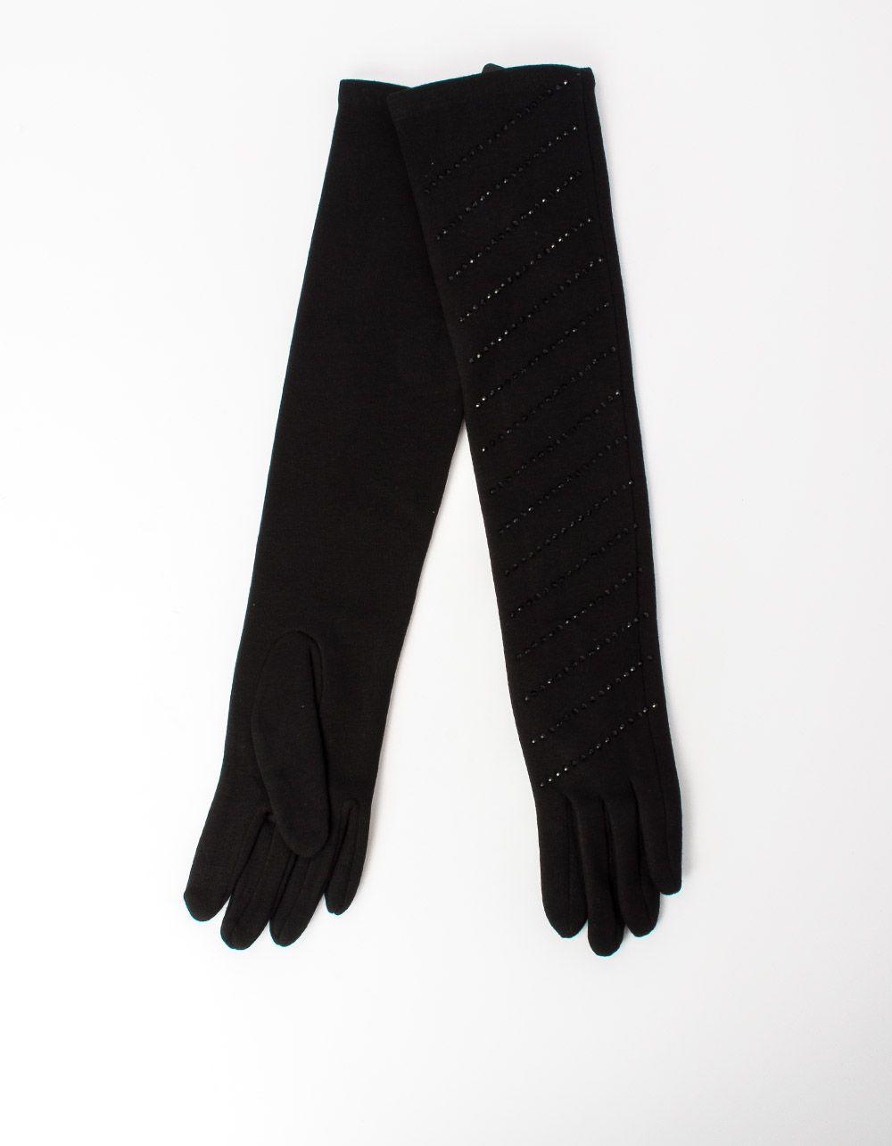 Перчатки высокие трикотажные с стразами   213063-02-07