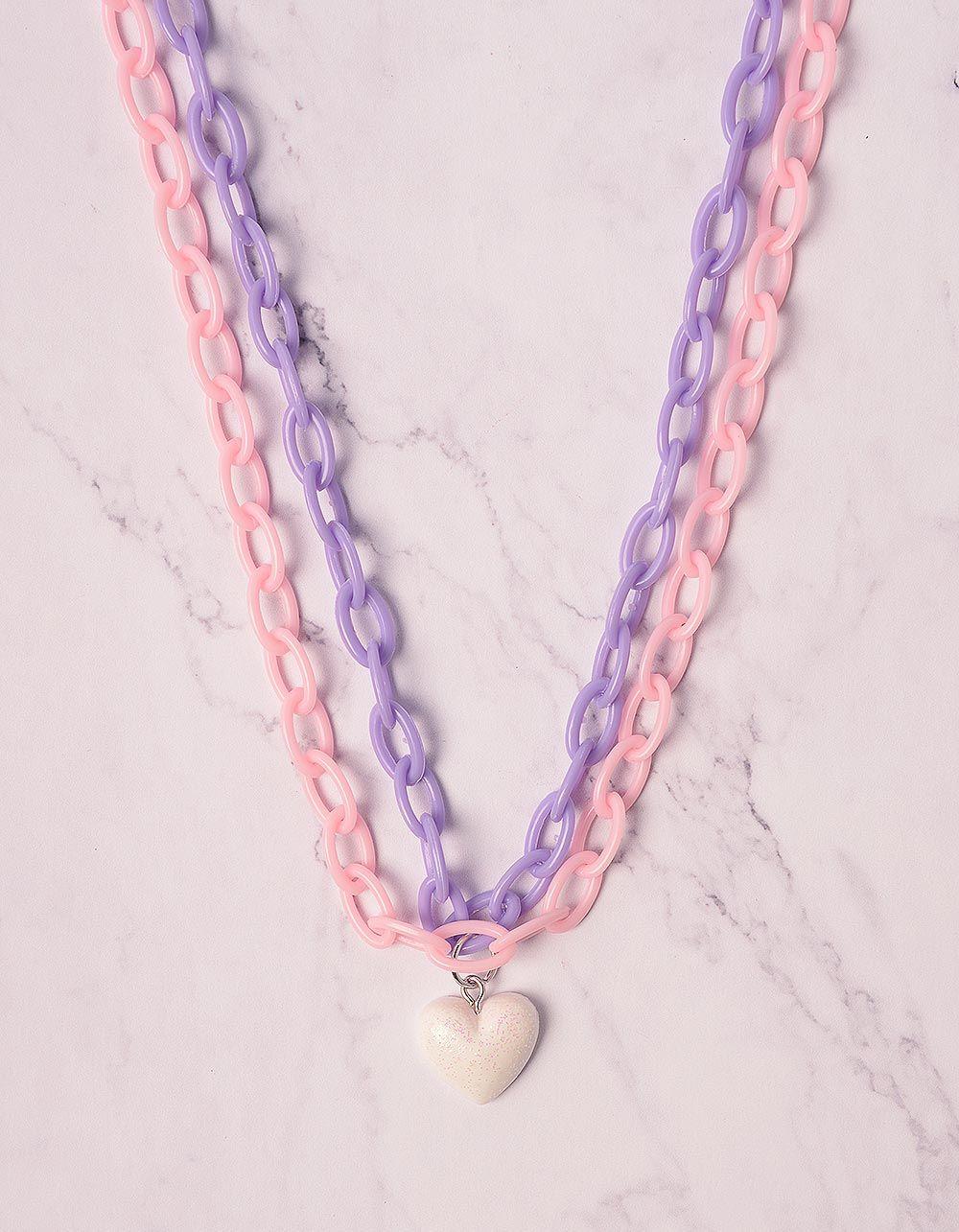 Підвіска із кольорових ланцюжків з серцем | 240125-21-XX