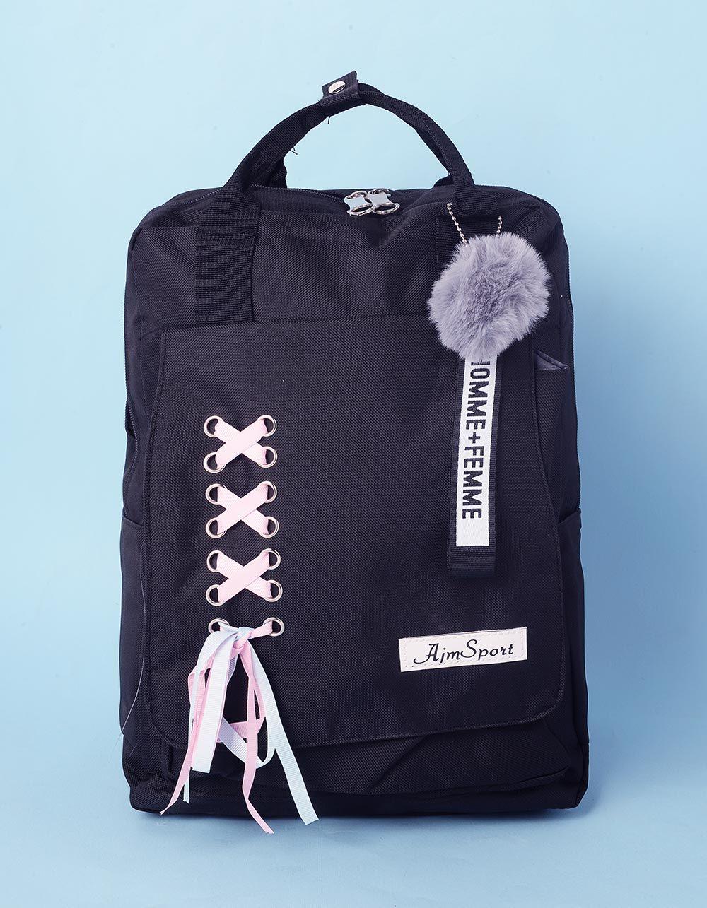 Рюкзак з хутряним брелоком та шнуровкою | 237294-02-XX