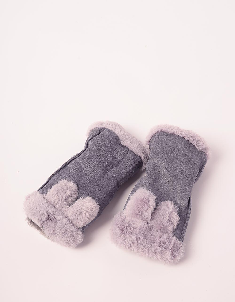 Мітенки теплі з вушками | 238514-11-XX