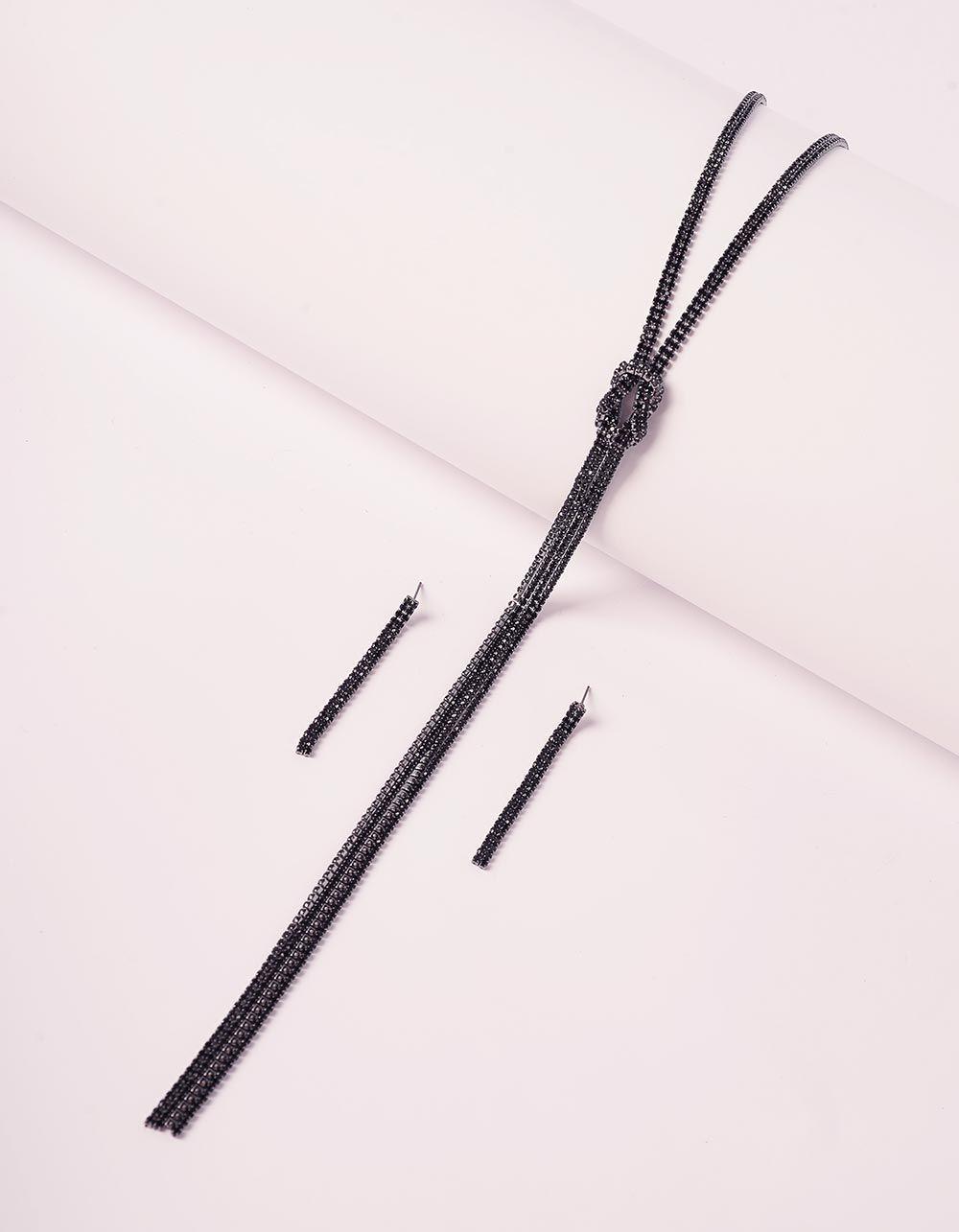 Комплект із підвіски та сережок з камінцями | 240191-02-XX