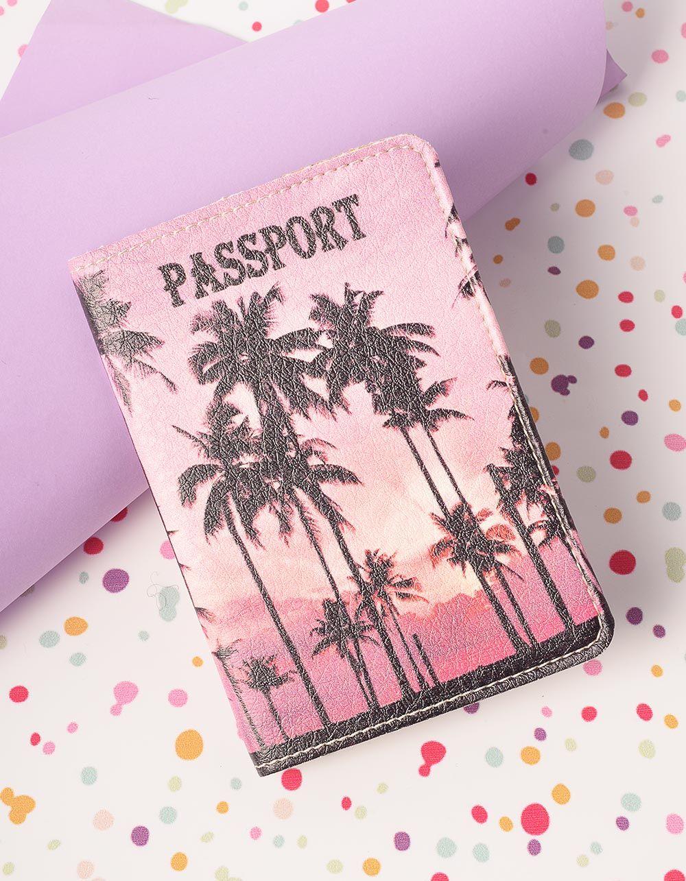 Обкладинка на паспорт з принтом пальми   230401-21-XX