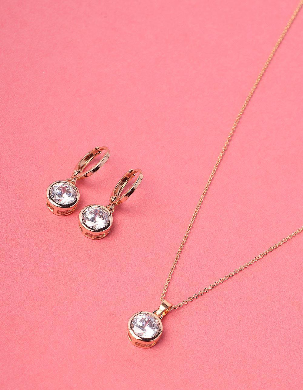 Комплект із підвіски та сережок з камінцями | 228475-08-XX