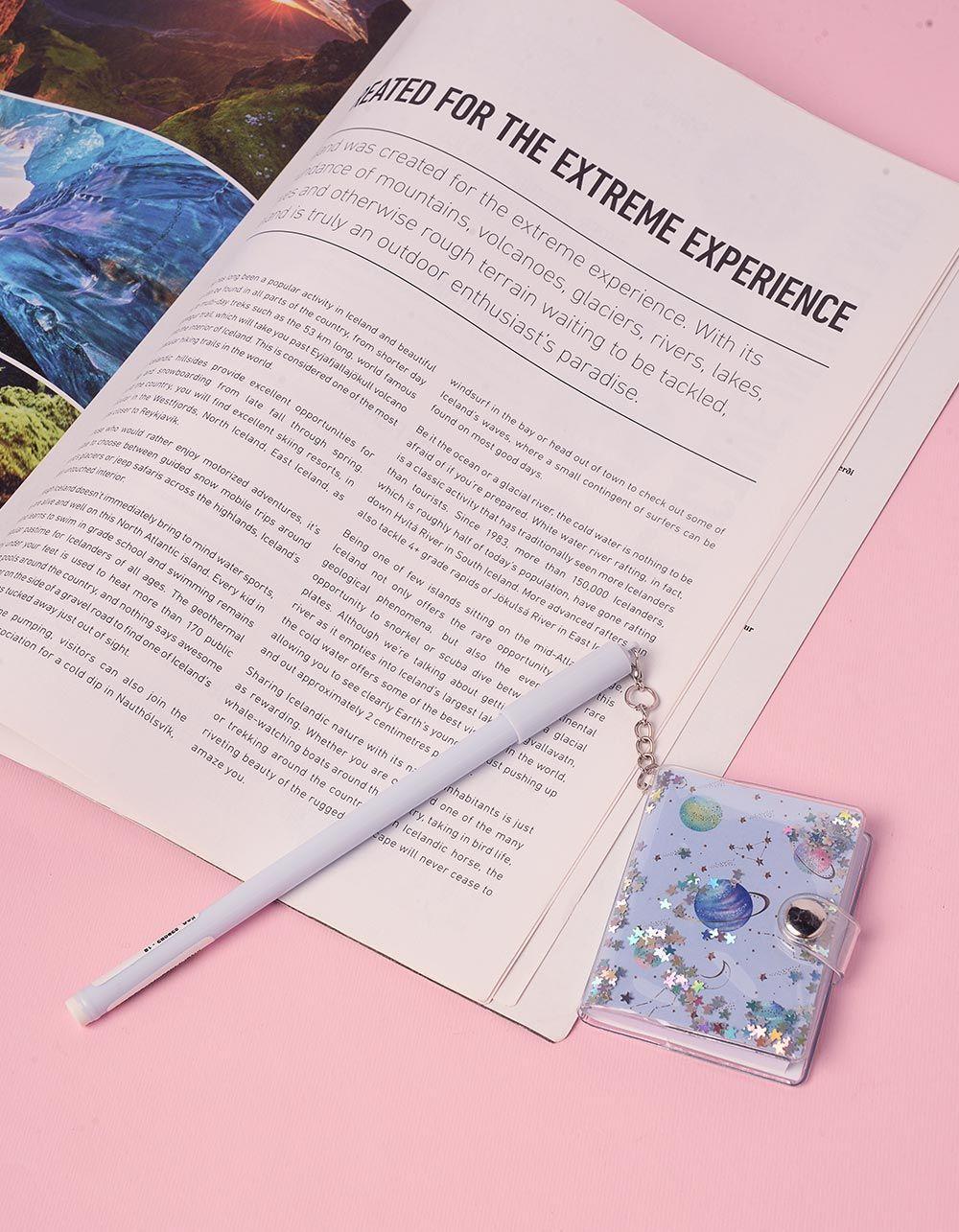 Ручка з блокнотом на ковпачку із космічним принтом | 239083-18-XX