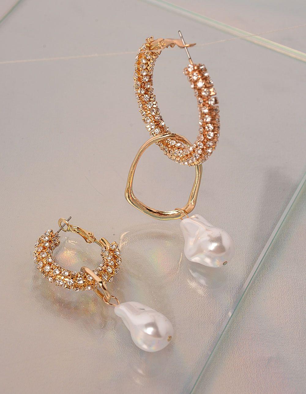 Сережки фігурні з перлинами | 238905-08-XX