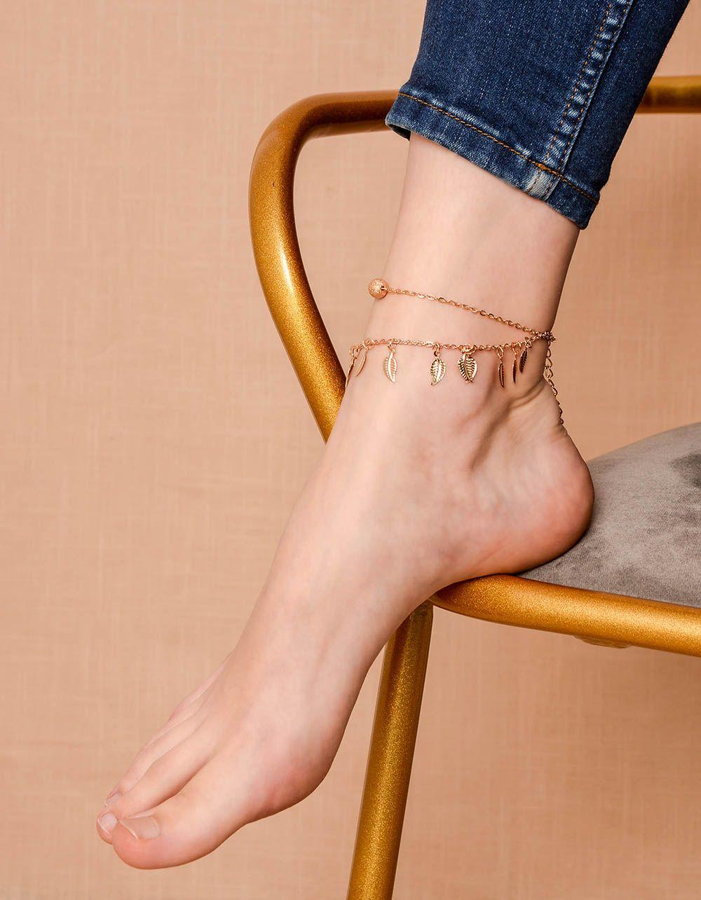 Браслет на ногу подвійний з підвісками у вигляді листя | 239991-04-XX