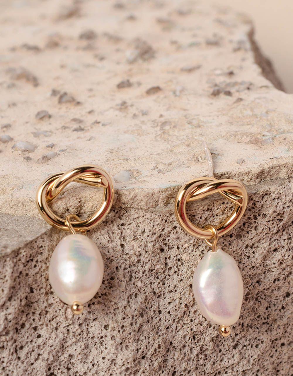 Сережки фігурні з перлинами | 237623-08-XX