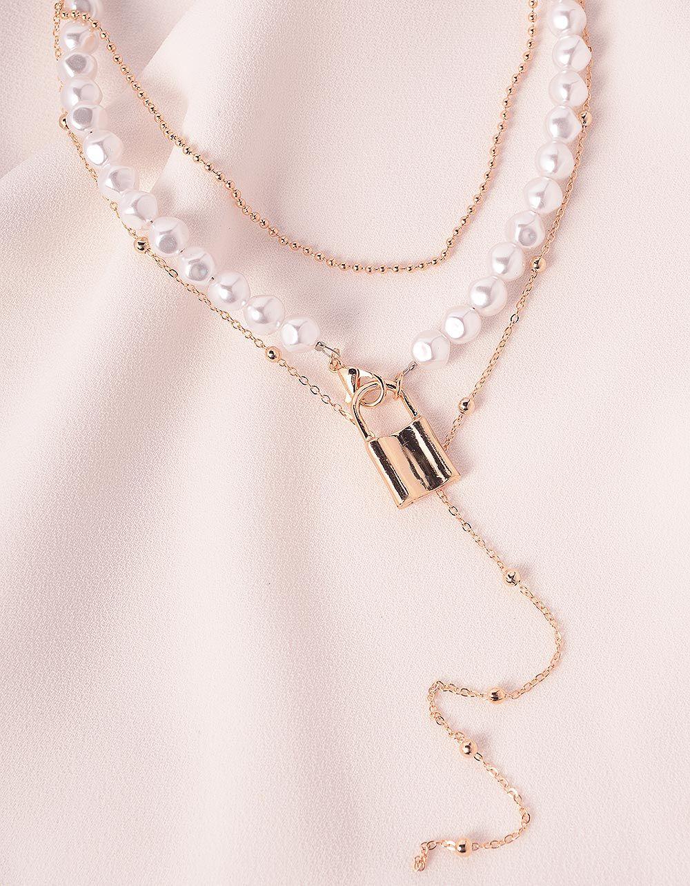 Підвіска кольє із перлин з кулоном у вигляді замка | 239712-08-XX
