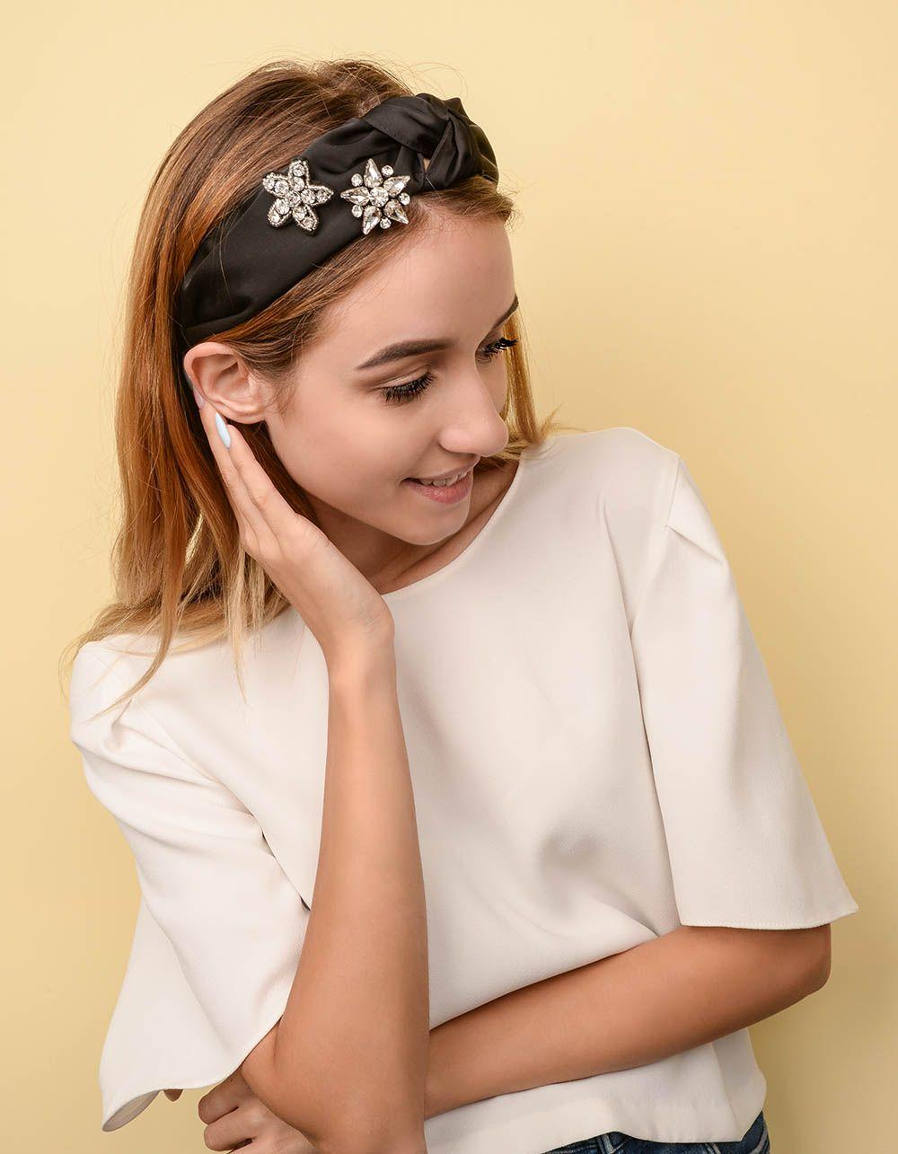 Обідок для волосся з квітками із стразів | 238374-02-XX