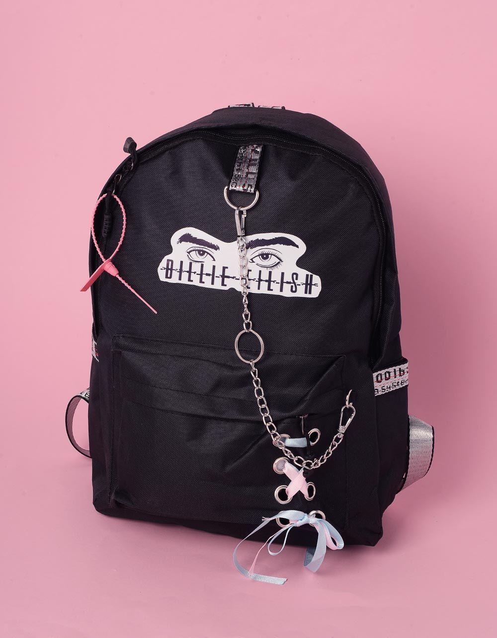 Рюкзак молодіжний  з написом Billie Eilish та ланцюгами | 240243-02-XX