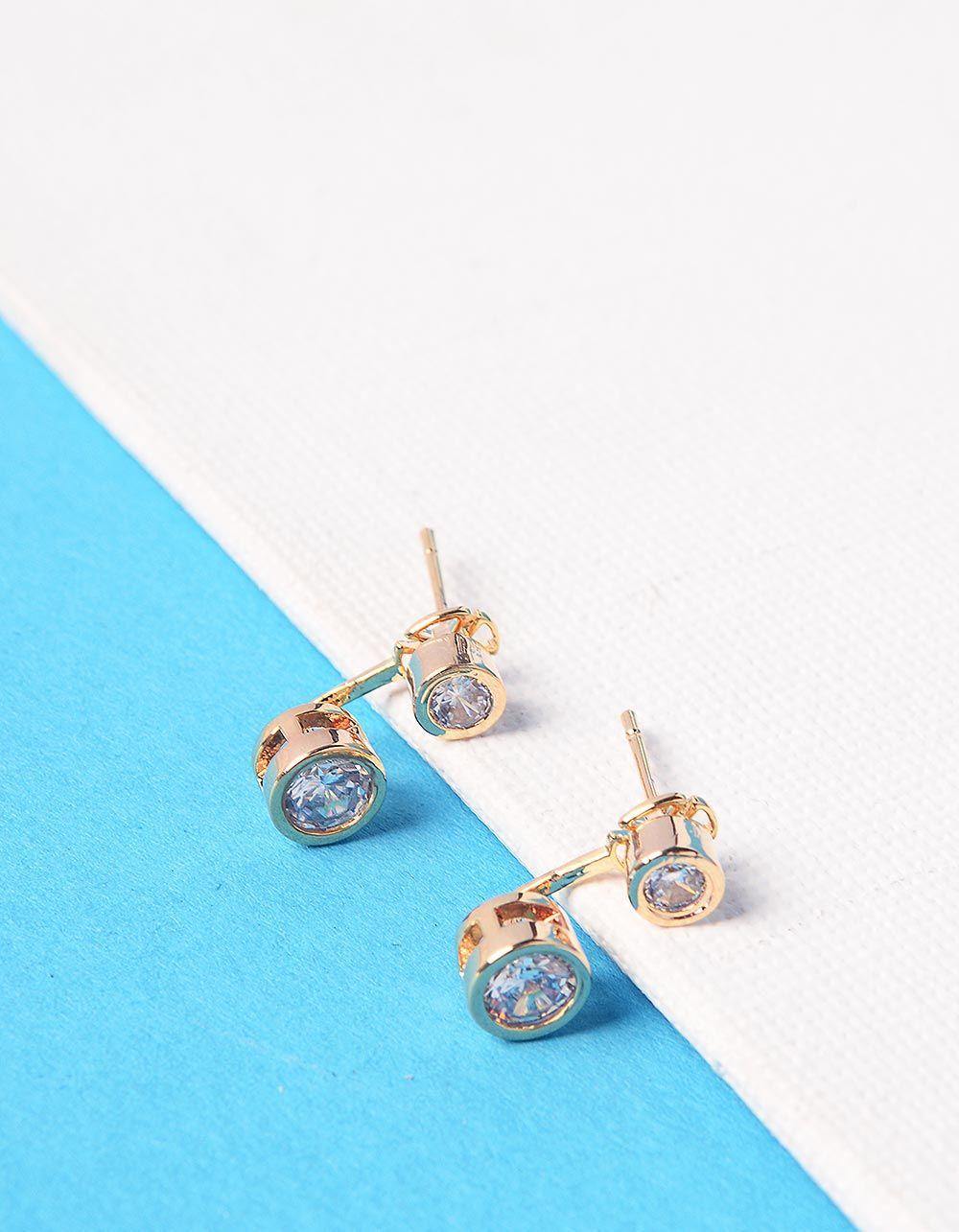 Сережки двосторонні з кристалами | 228417-08-XX