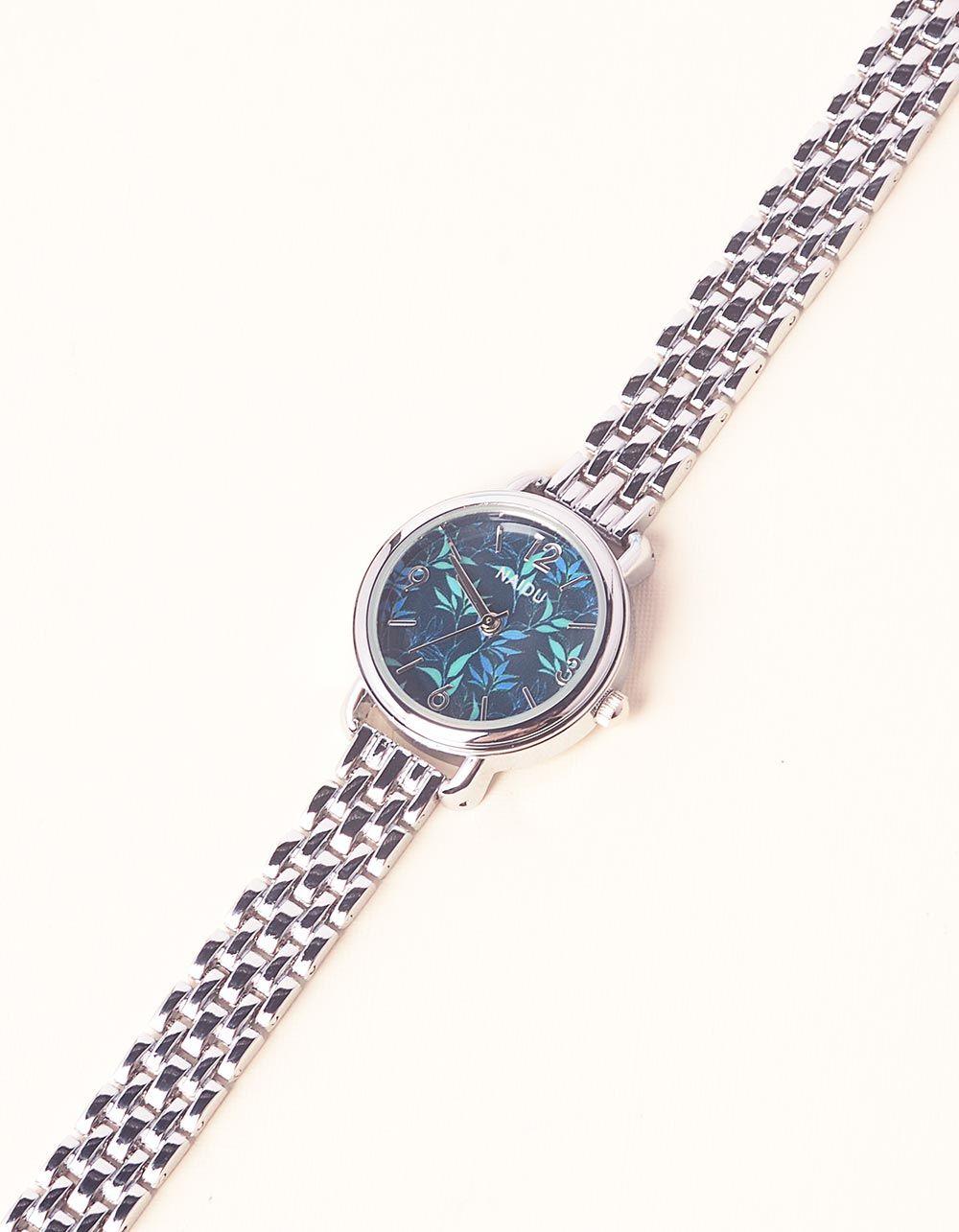 Годинник з квітковим принтом та металевим ремінцем | 237268-62-XX