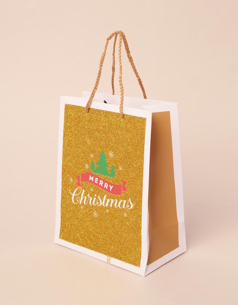 Пакет подарунковий новорічний з написом | 240045-04-XX