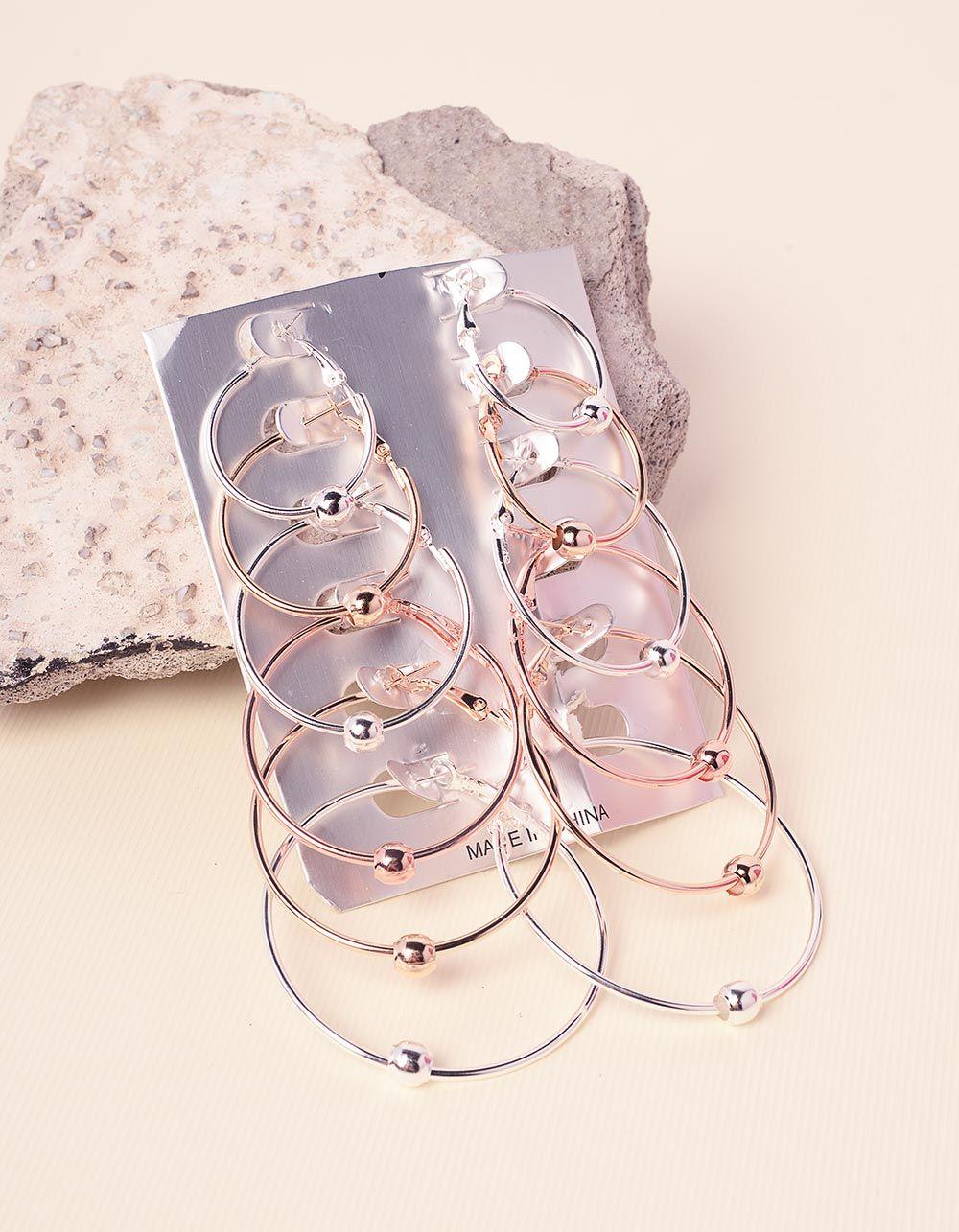 Сережки кільця у наборі з намистинами | 237776-21-XX