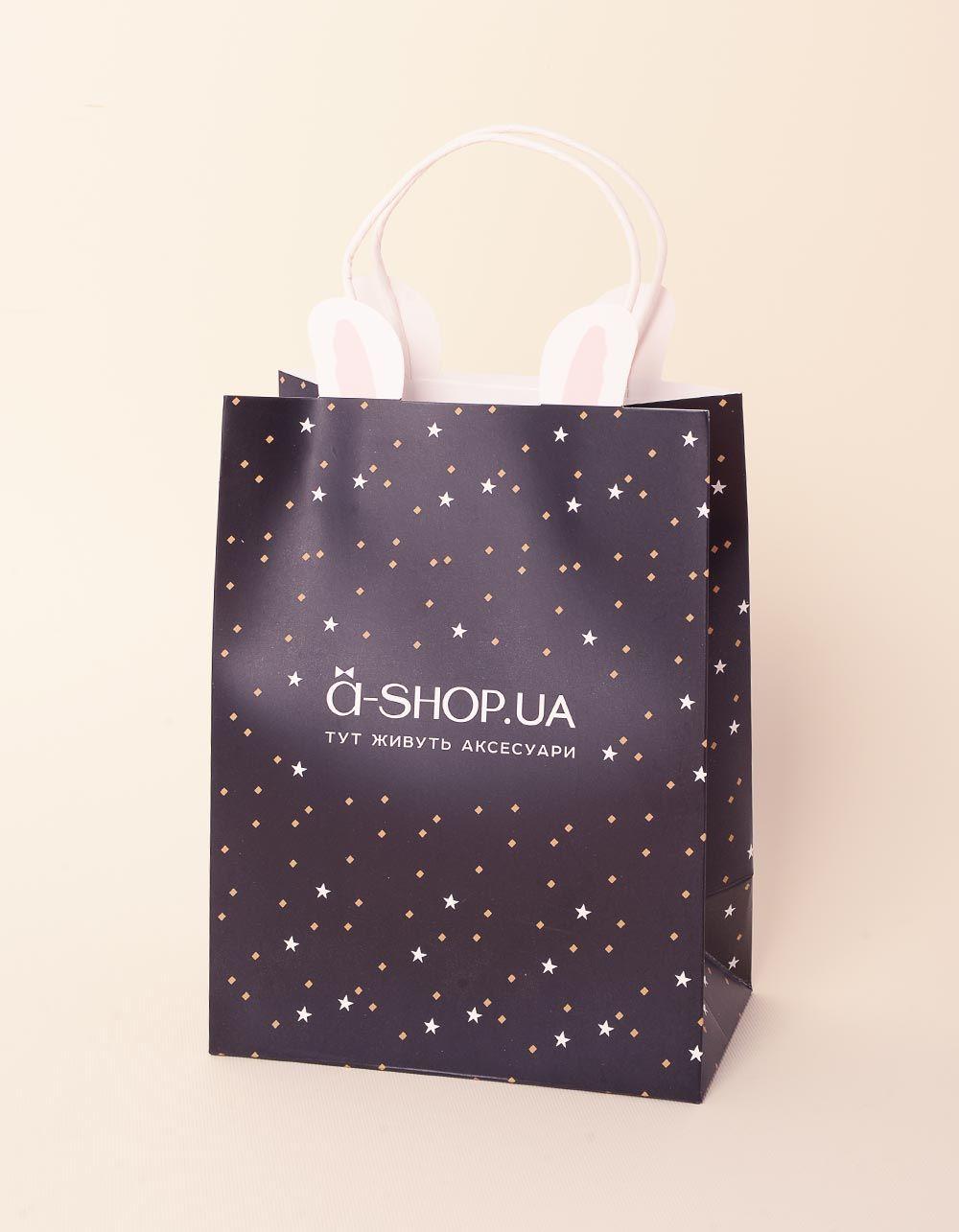 Пакет подарунковий a shop з вушками та зірочками | 237923-02-XX