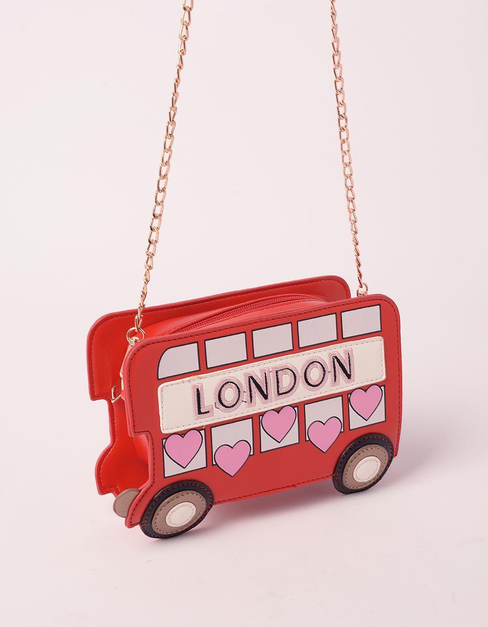 Сумка на ланцюжку у вигляді лондонського автобуса з серцями   239452-15-XX