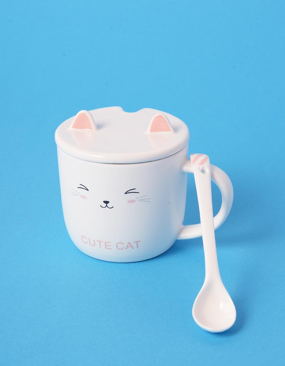 Чашка із зображенням кицьки з вушками на кришці | 239028-14-XX
