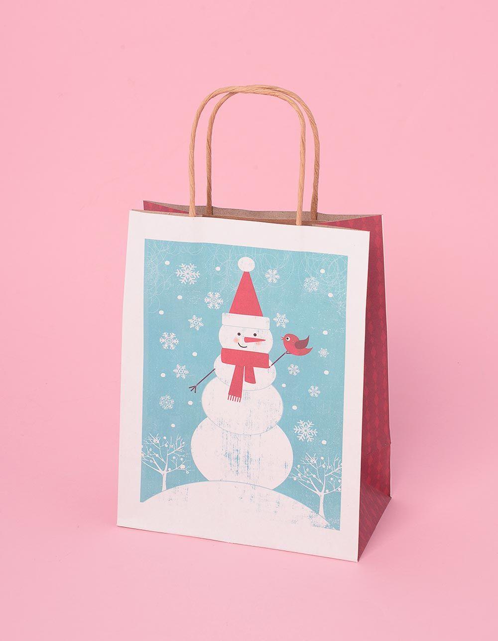 Пакет подарунковий з новорічним принтом | 240044-18-XX