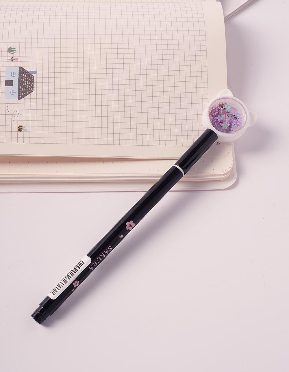 Ручка з ковпачком у вигляді кицьки з блискітками | 240495-02-XX