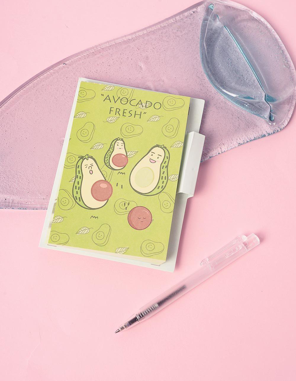 Блокнот із принтом авокадо у комплекті з ручкою | 239930-20-XX
