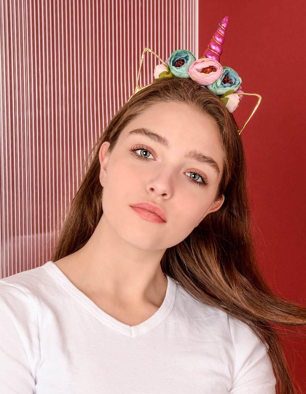Обідок для волосся у вигляді єдинорога з квітами   238772-21-XX