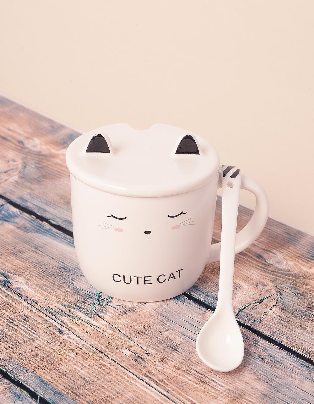 Чашка із зображенням кицьки з вушками на кришці | 239028-02-XX