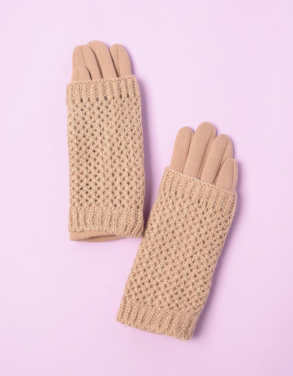 Перчатки крупная вязка с плюшевой подкладкой   213135-39-07