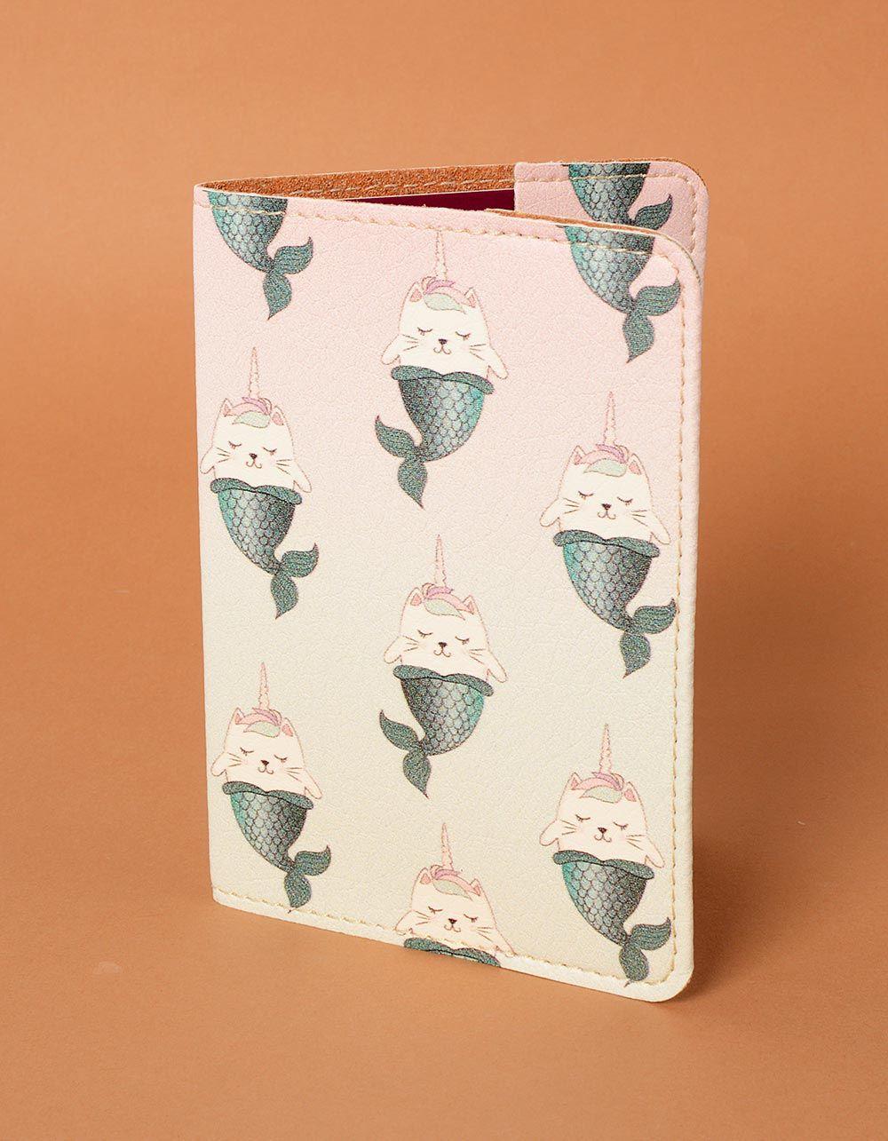 Обкладинка на паспорт з принтом кота єдинорога з хвостом русалки   235174-21-XX