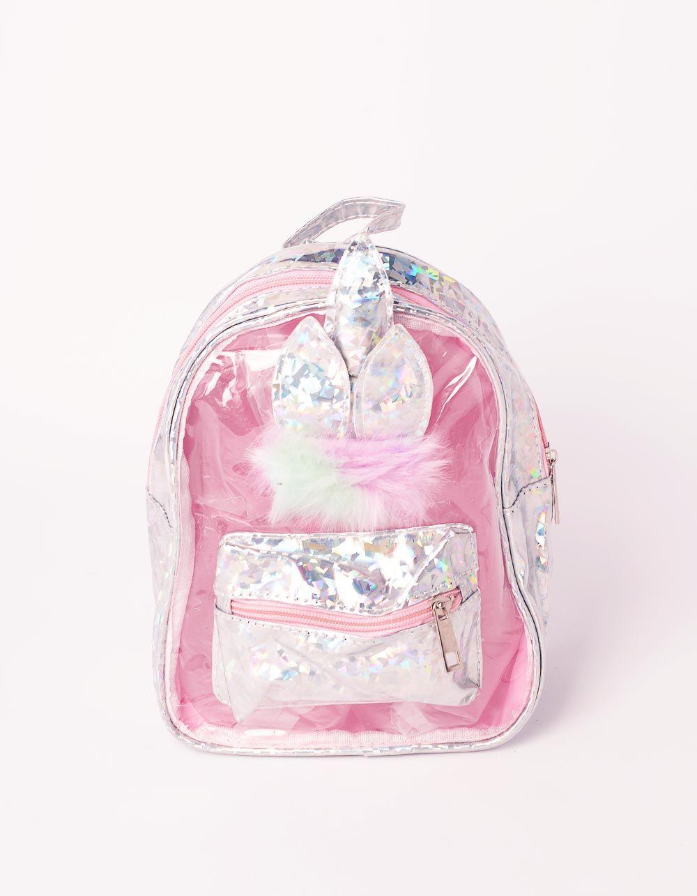 Рюкзак прозорий голографічний з вушками  та хутром | 239192-05-XX