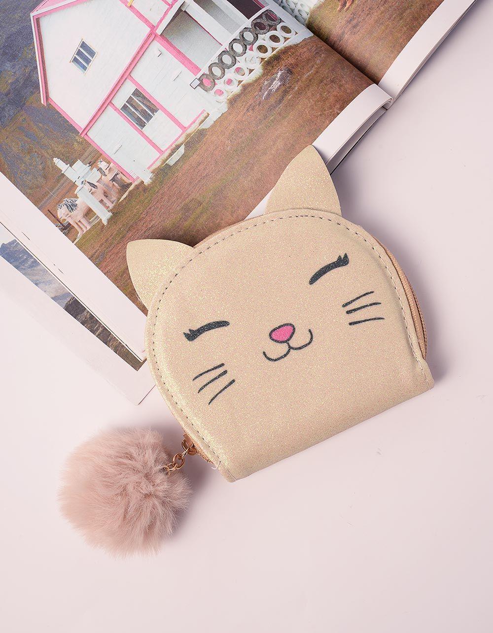 Гаманець з принтом кішки та хутряним брелоком   238386-04-XX