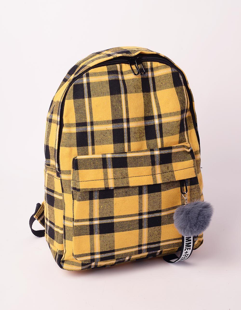 Рюкзак у клітинку з хутряним брелоком на кишені | 238481-19-XX