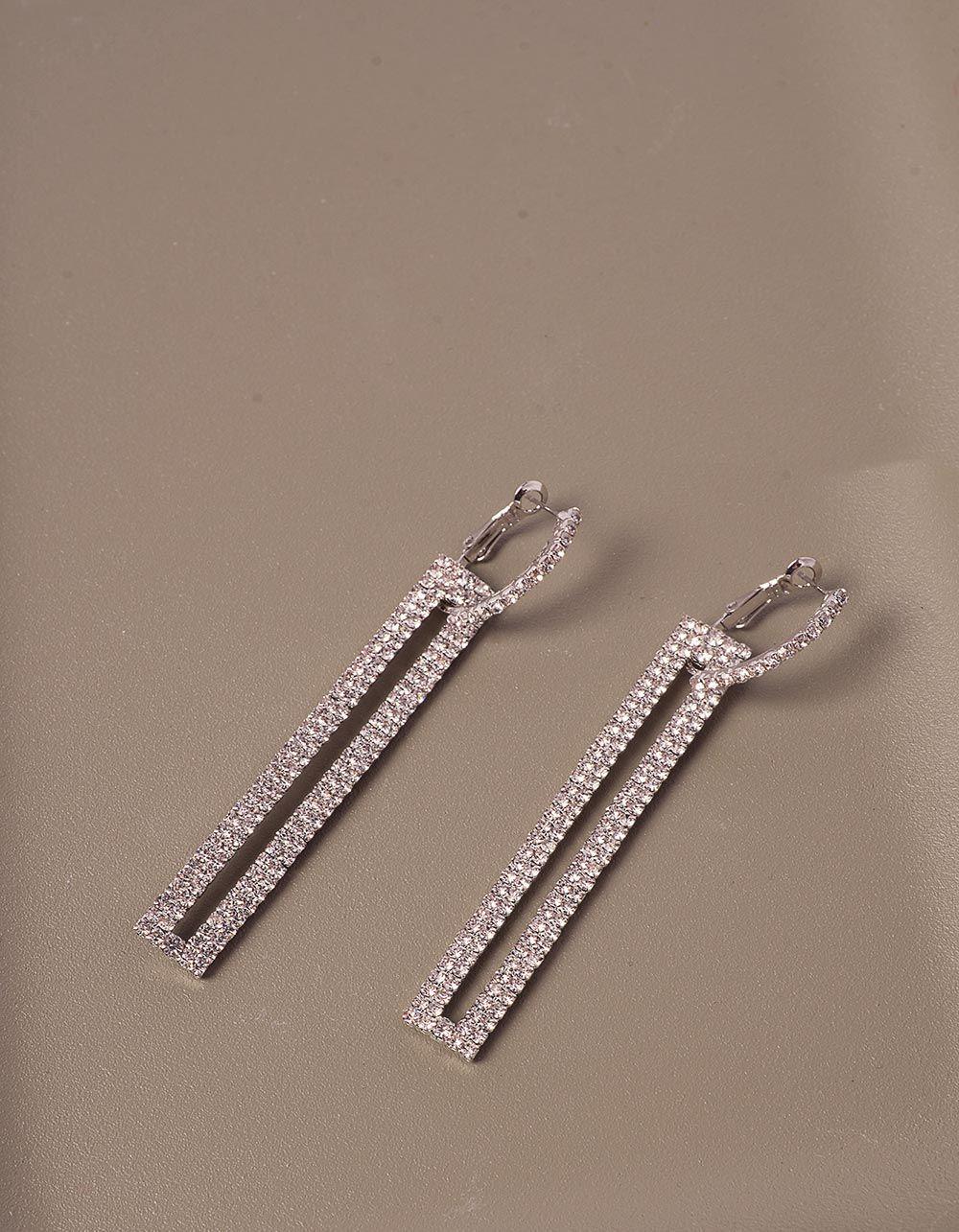 Сережки довгі декоровані стразами | 240159-06-XX