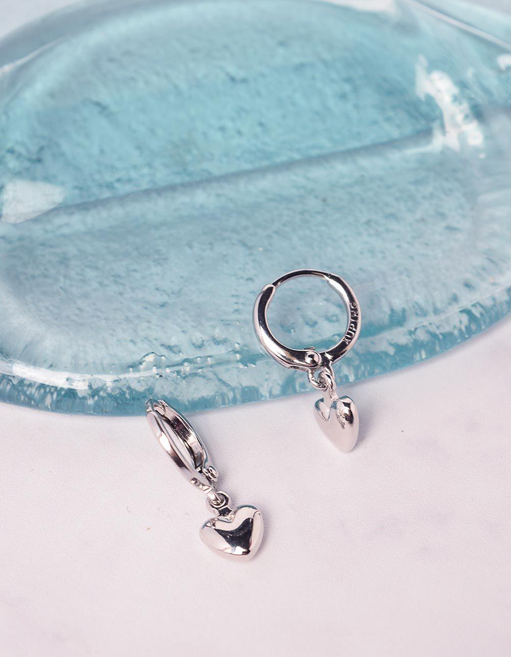 Сережки кільця з кулоном у вигляді серця | 240999-05-XX